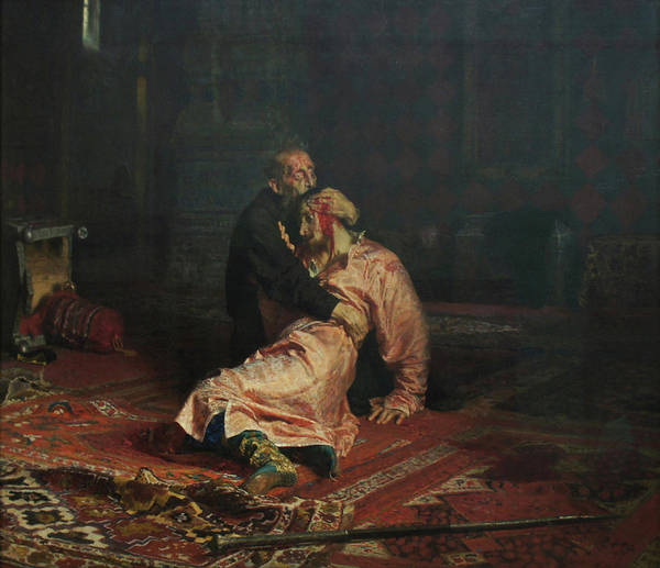 Ilya Repin Art Print featuring the painting Ivan The Terrible and His Son Ivan on November 16, 1581 by Ilya Repin