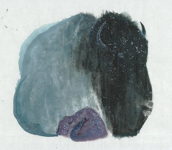 Under The Snow Art Print featuring the painting Mother Bison And Calf by Mui-Joo Wee