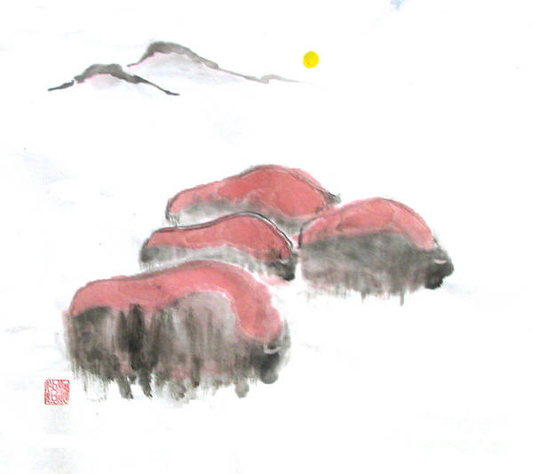 A Herd Of Bison .  Art Print featuring the painting Bisons In Snow I by Mui-Joo Wee