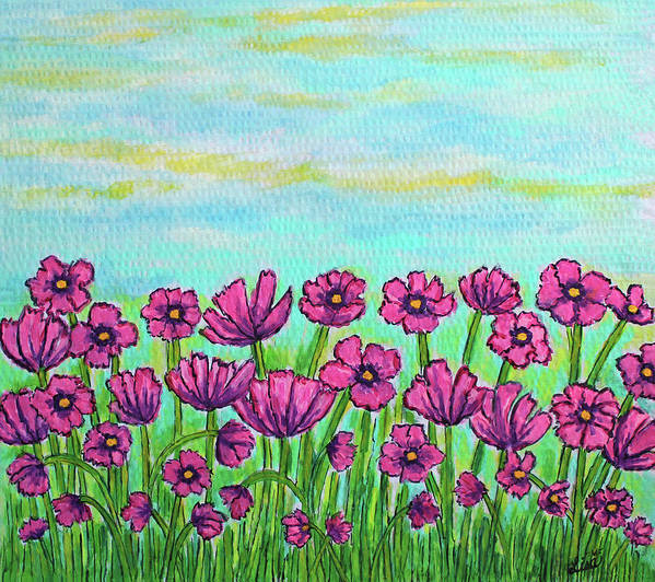 Cosmos Art Print featuring the painting Crazy for Cosmos by Lisa Lorenz