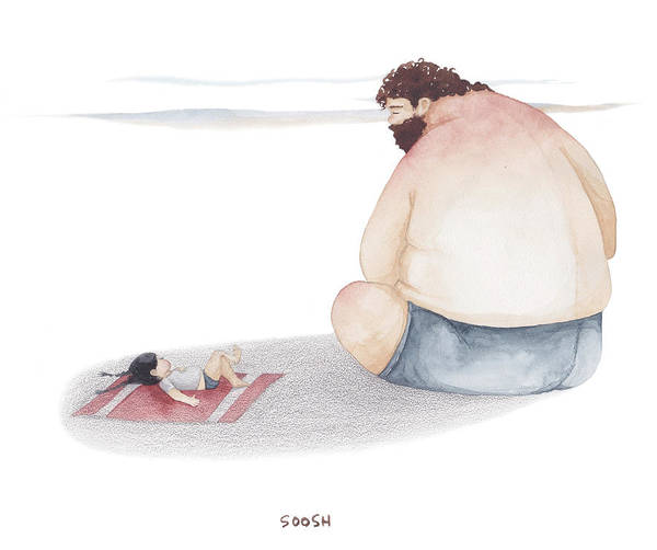 Father Art Print featuring the drawing Devoted Father by Soosh