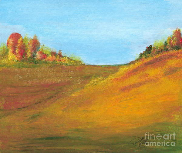 Landscape Art Print featuring the painting Fields in Fall by Vi Mosley