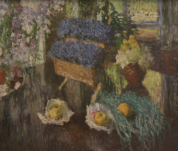 Russian Impressionism Art Print featuring the painting Flowers and Fruits by Igor Grabar