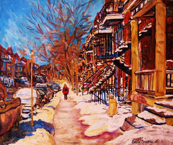 Montreal Art Print featuring the painting Girl In The Red Jacket by Carole Spandau