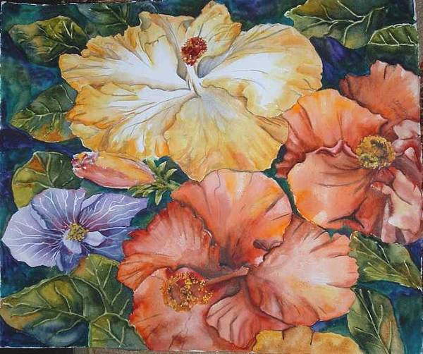 Watercolor Art Print featuring the painting Hibiscus by Diane Ziemski