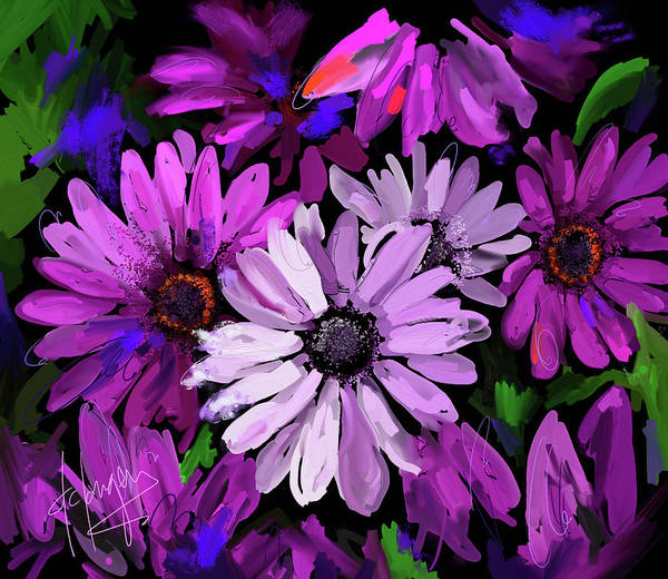 Dc Langer Art Print featuring the painting Magenta Flowers by DC Langer