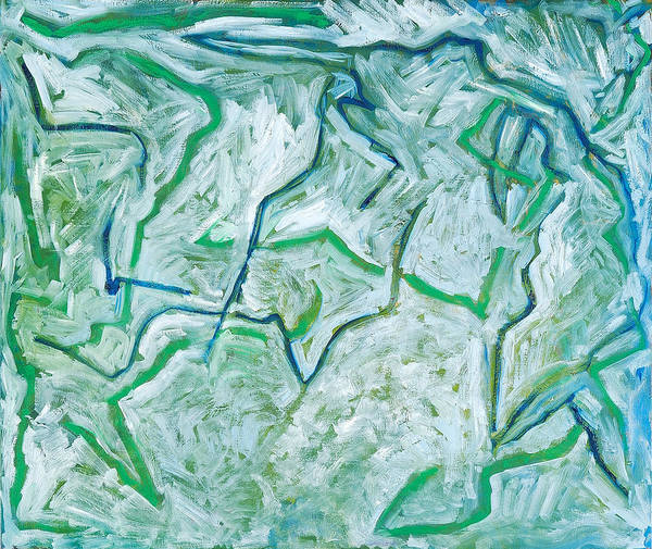 Abstract Green White Rock Drawing Lines Art Print featuring the painting Maria Verde by Joan De Bot