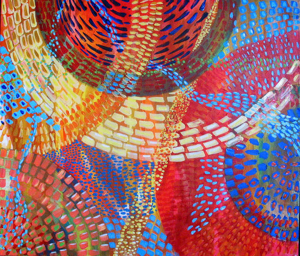 Dots Art Print featuring the painting Microcosm III by Rollin Kocsis