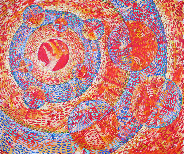 Pointillism Art Print featuring the painting Microcosm XVIII by Rollin Kocsis