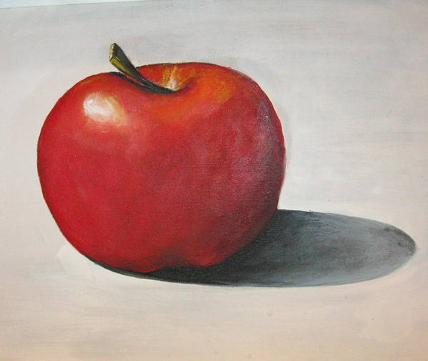 Apple Art Print featuring the painting One Red Apple by Eileen Kasprick