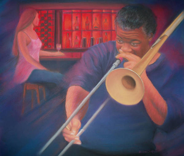 Musician Art Print featuring the pastel Playing the Blues II by Diane Caudle