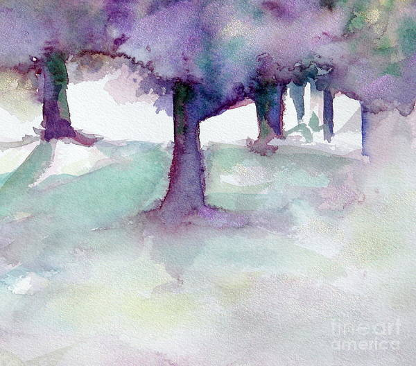 Landscape Art Print featuring the painting Purplescape II by Jan Bennicoff