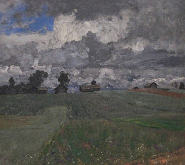 Isaac Levitan Art Print featuring the painting Stormy Day by Isaac Levitan