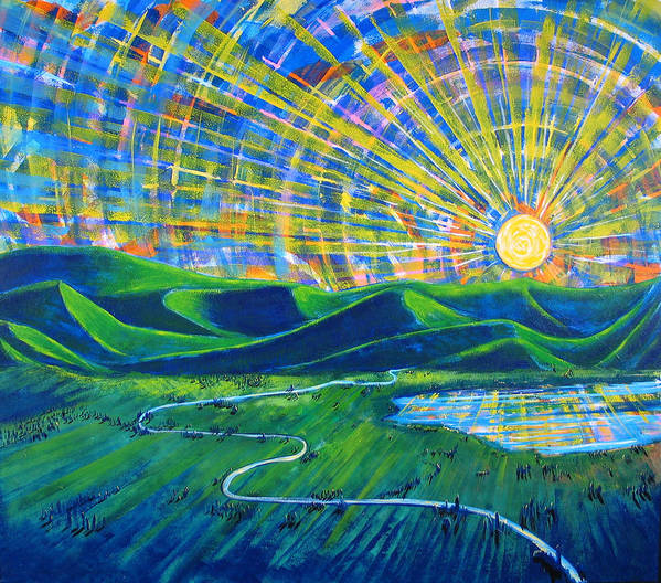 Sun Art Print featuring the painting Sunscape by Rollin Kocsis