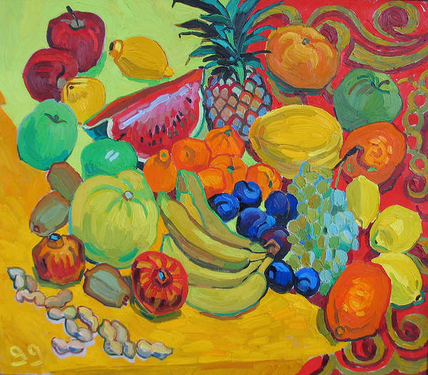 Fruits Art Print featuring the painting Sweet fruits by Vitali Komarov