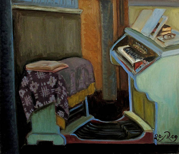 Interior Art Print featuring the painting The Organ in The Inturke Church by Raimonda Jatkeviciute-Kasparaviciene
