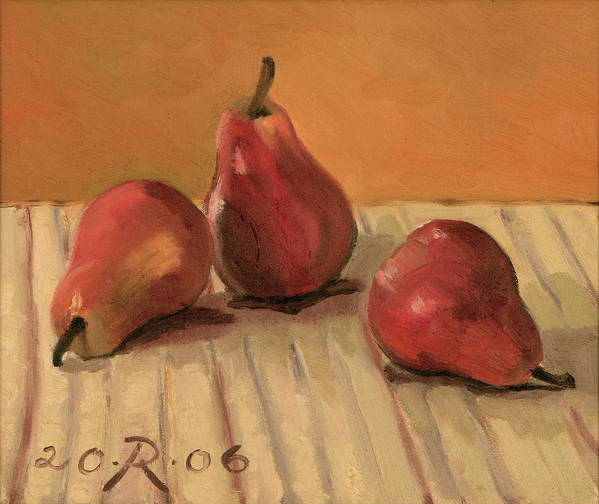 Still-life Pears Red Gold Art Print featuring the painting Three Red Pears by Raimonda Jatkeviciute-Kasparaviciene