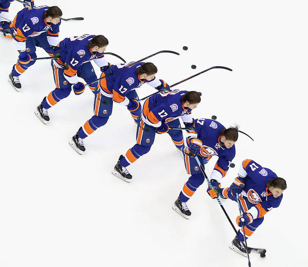 National Hockey League Art Print featuring the photograph Los Angeles Kings V New York Islanders by Bruce Bennett