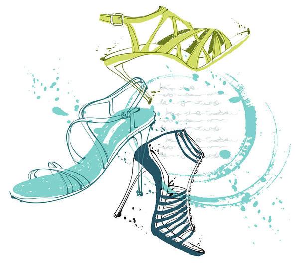White Background Art Print featuring the digital art Feminine Shoes by Eastnine Inc.