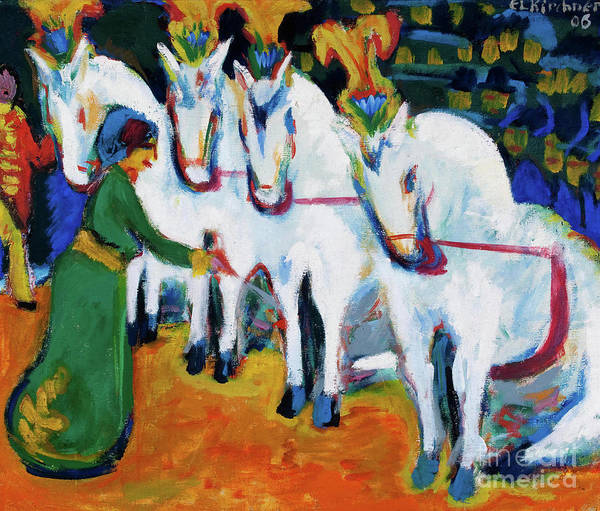 Horse Art Print featuring the drawing Circus Horses Dressage by Heritage Images