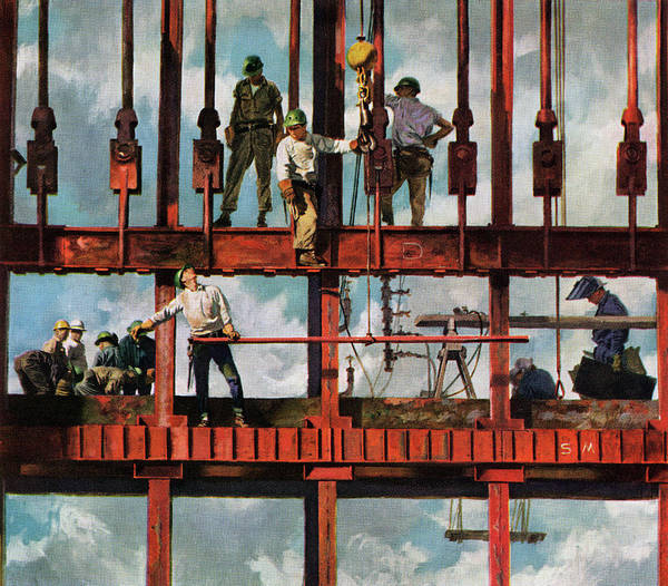 Working Art Print featuring the photograph Construction Workers On Site by Graphicaartis