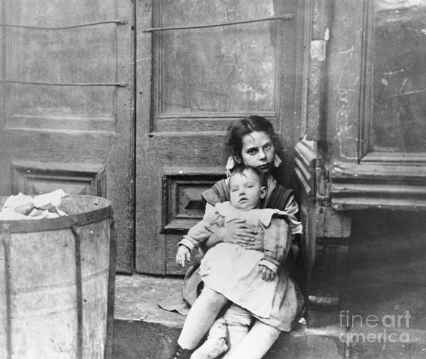 Toddler Art Print featuring the photograph Girl Sitting On Doorstep With Baby by Bettmann