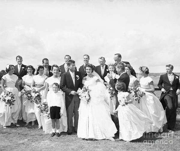 Young Men Art Print featuring the photograph John And Jackie Kennedy On Wedding Day by Bettmann