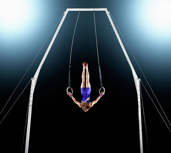 Focus Art Print featuring the photograph Male Gymnast Upside Down Performing On by Robert Decelis Ltd