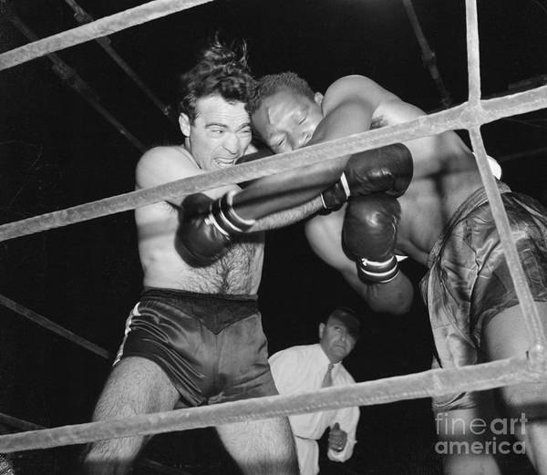 People Art Print featuring the photograph Marcel Cerdan And Holman Williams Boxing by Bettmann
