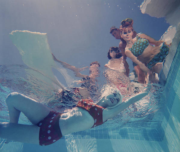 Underwater Art Print featuring the photograph Palm Springs Fashion, No. 8 by Lawrence Schiller