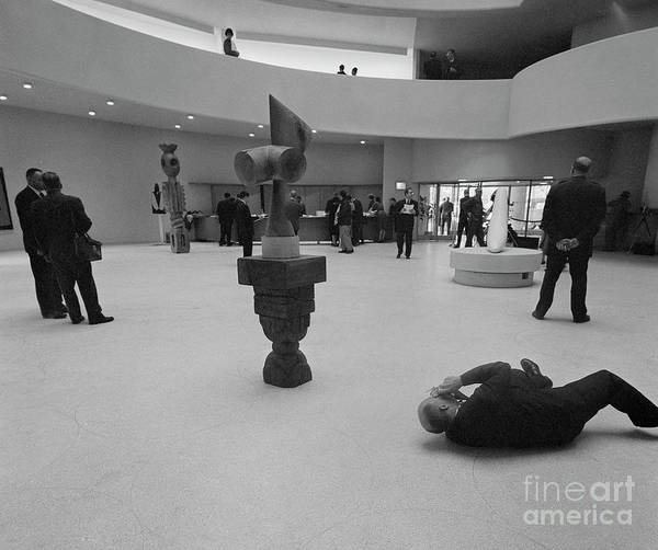 Art Art Print featuring the photograph Photographer Lying On Floor And Taking by Bettmann