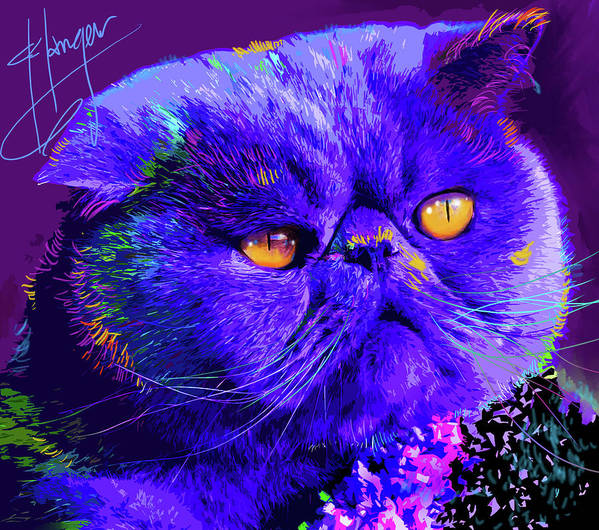 Captain Blue Chip Art Print featuring the painting pOpCat Captain Blue Chip by DC Langer