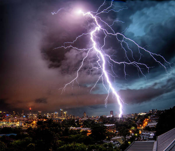 Tranquility Art Print featuring the photograph Sydney Summer Lightning Strike by Australian Land, City, People Scape Photographer