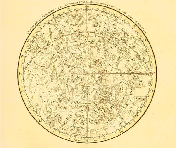 Engraving Art Print featuring the digital art Zodiac Map by Nicoolay