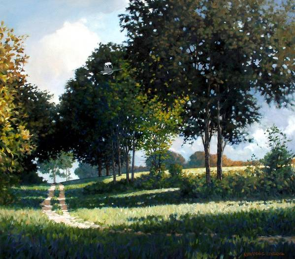 Landscape Art Print featuring the painting Mockingbird Hill by Kevin Lawrence Leveque