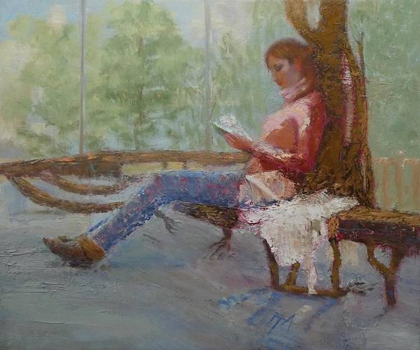 Girl Art Print featuring the painting Break at Museum II by Irena Jablonski