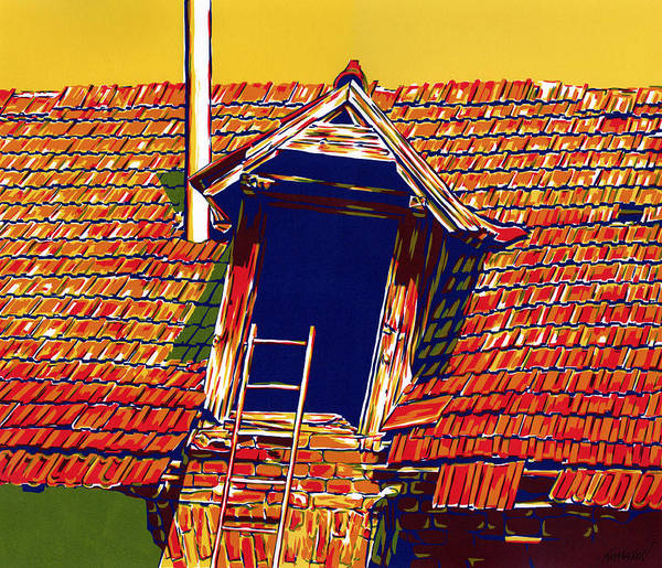 Roof Art Print featuring the mixed media Dark window in old sunlit roof countryside house architecture landcape by Vitali Komarov