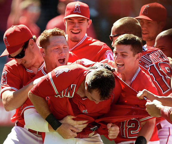 Ninth Inning Art Print featuring the photograph Johnny Giavotella and Kole Calhoun by Harry How