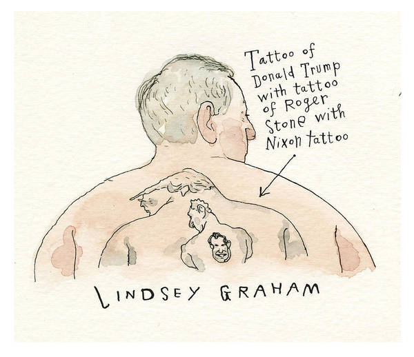 Captionless Art Print featuring the painting Lindsey Graham Tattoo by Barry Blitt