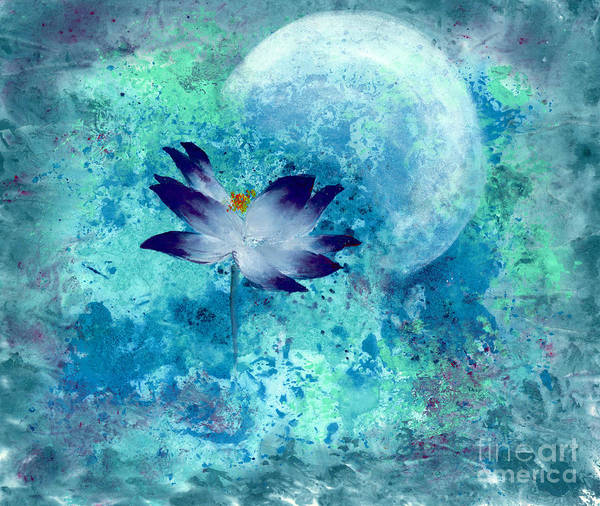 Under The Silver Moon Art Print featuring the painting Lotus Moon by Mui-Joo Wee