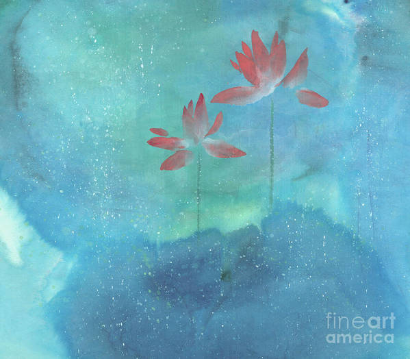 Lotus Emerged Out Of The Sludge Art Print featuring the painting Luminous by Mui-Joo Wee