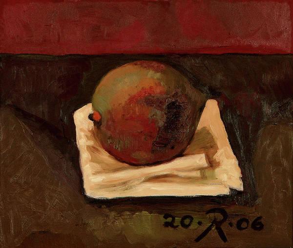 Still-life Red Green Mango Drapery Fruit Art Print featuring the painting One Fruit by Raimonda Jatkeviciute-Kasparaviciene
