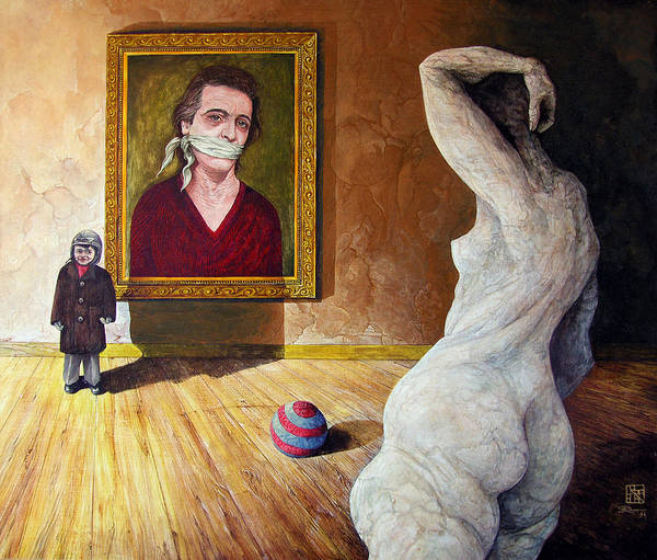 Surrealism Art Print featuring the painting The Visitor by Otto Rapp