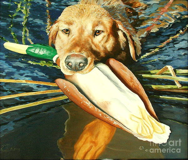 Dogs Art Print featuring the painting Training Days II by Scott Alcorn