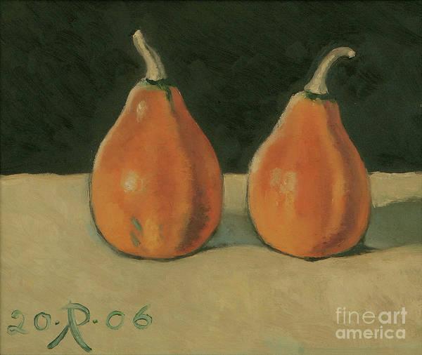 Still-life Pumpkins Orange Art Print featuring the painting Two Orange Pumpkins by Raimonda Jatkeviciute-Kasparaviciene