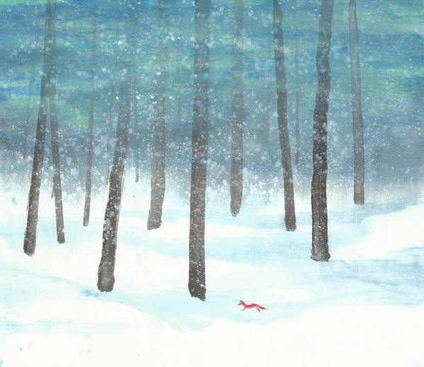A Red Fox Wanders In A Snowy Forest. A Whisper Of The Great Silence Can Be Heard In The Winter Air. It's A Simple Contemporary Chinese Brush Painting On Rice Paper. Art Print featuring the painting Whisper of the Forest by Mui-Joo Wee