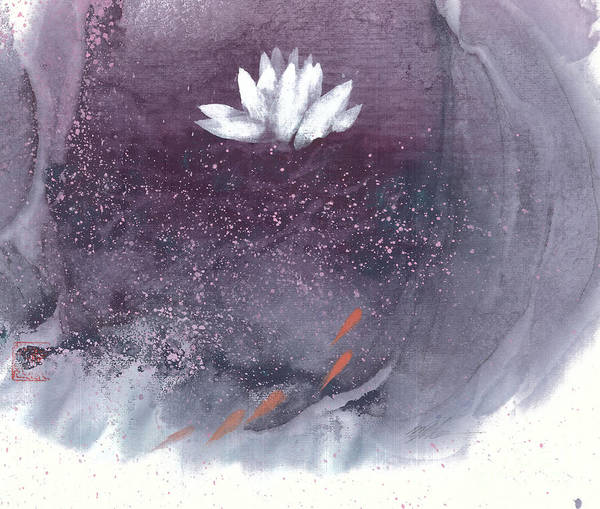 A Brilliant White Lotus In A Pond With Delightful Fish. It's A Simple Chinese Brush Painting On Rice Paper. Art Print featuring the painting White Lotus I by Mui-Joo Wee