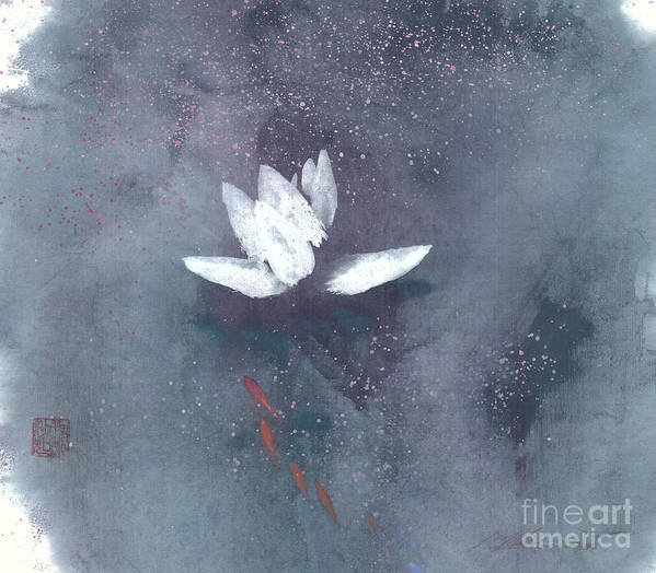 A Brilliant Lotus In A Pond With Delightful Fish. It's A Simple Chinese Brush Painting On Rice Paper. Art Print featuring the painting White Lotus II by Mui-Joo Wee