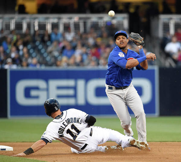 Double Play Art Print featuring the photograph Will Middlebrooks and Starlin Castro by Denis Poroy