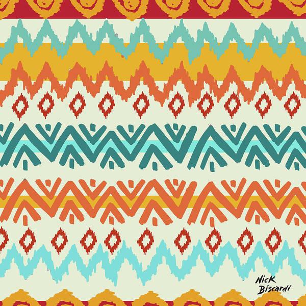 Navajo Art Print featuring the digital art Navajo Mission Round by Nicholas Biscardi